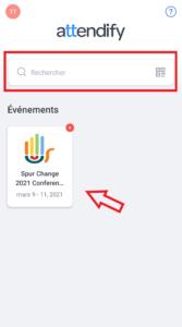 """4. L'événement de la conférence d'Activer le changement apparaîtra automatiquement. Sinon, recherchez """"Spur Change 2021 Conference / Activer le changement Conférence 2021""""."""