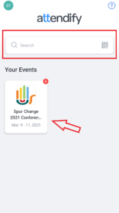 """4. The Spur Change conference event will automatically appear. If not, search for """"Spur Change 2021 Conference / Activer le changement Conférence 2021""""."""